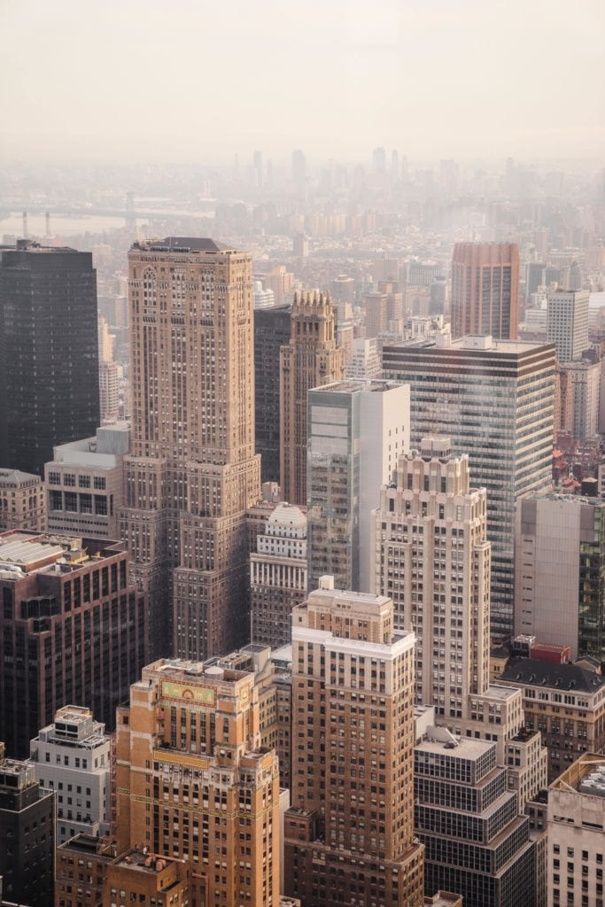 New York city, view of buildings, city full of anxious people.