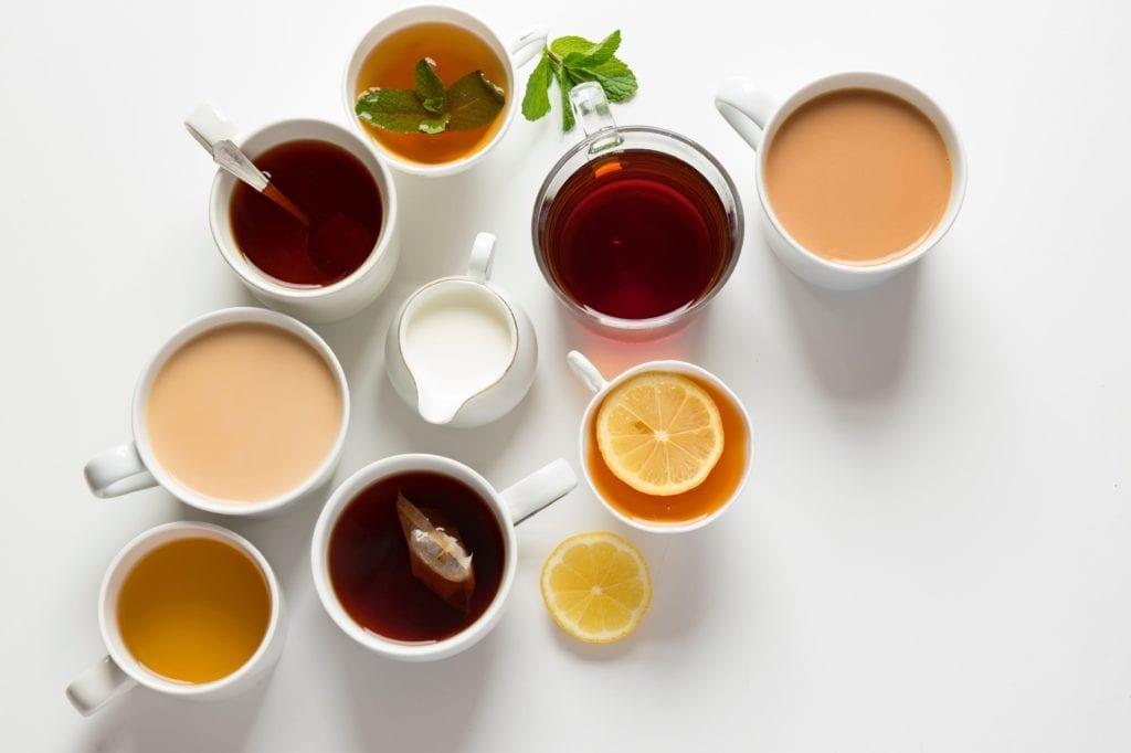 Multiple tea cups filled with different mushroom tea.