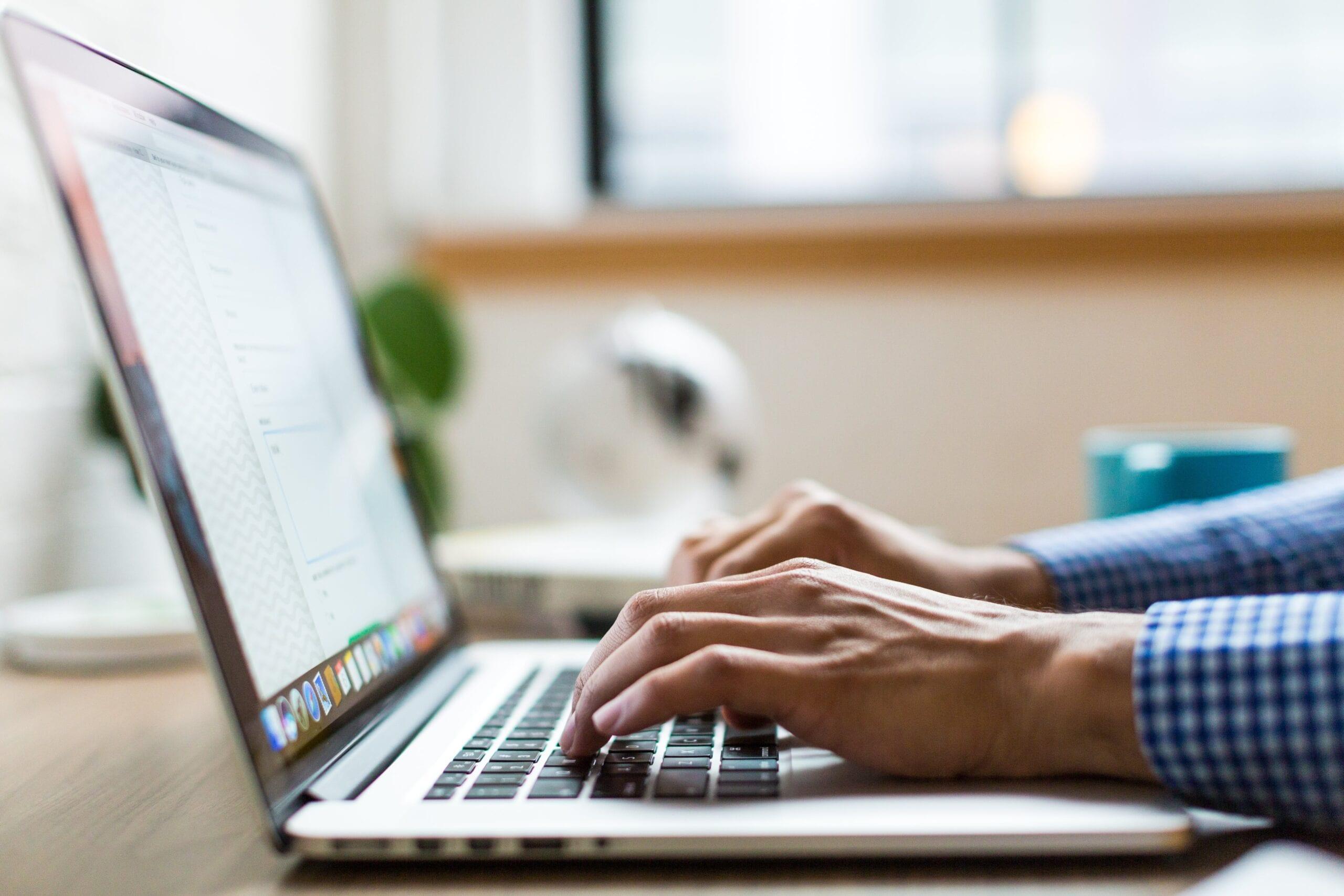 Man using computer to order online STD test